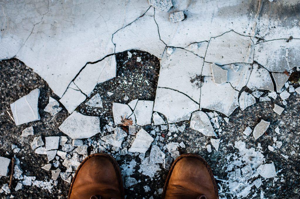 Broken Up Concrete Slab