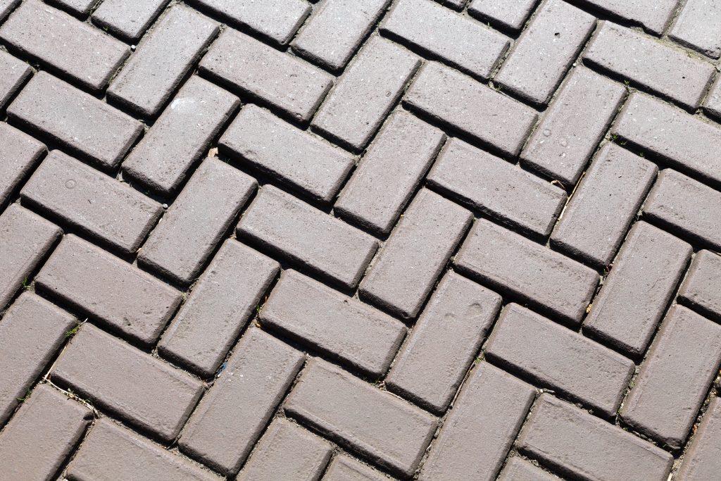 Bricks laid level over concrete slabs